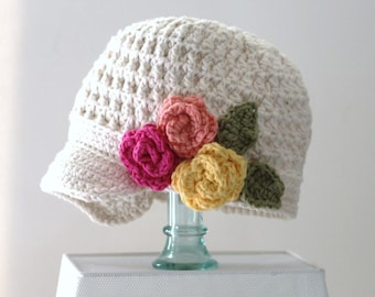 Hat | Newsboy | Cotton Crochet | Brimmed Hat | Flower | Childrens Hats | Kids | Summer Hat | Hipster Hat | Top Three Hats | Free Shipping