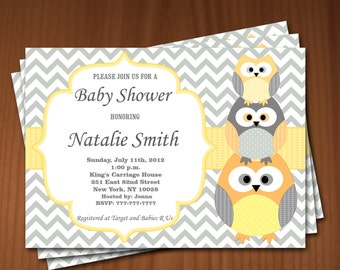 Owl Baby Shower Invitations Boys Baby Shower invitation Printable Baby Shower Invites FREE Thank You Card / editable pdf Download yellow 535