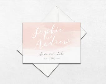 Blush watercolour wedding save the dates | Wedding save the date cards | Watercolour wedding save the dates | BLUSH |