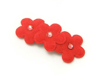 Red Flower Hair Clip, No Slip Baby Barrette, Flower Barrette, Red Flowers, Rhinstones, Baby, Toddler, Girl, 3ft, Red Flower Barrette