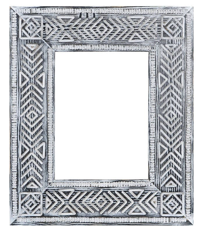 Wood tribal frame Aztec wood boho frames carving tribal frame