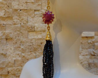 Ruby and Black Spinel Tassel earrings in 14K Vermeil, Length 4 inches