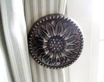 Antik Metall Sonnenblume Vorhang halten Rücken, Zinn Raffhalter Gardinen Hardware, Vorhang Holdback