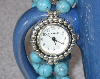 SALE!!!  Stretch Turquoise-Colored Magnesite Watch