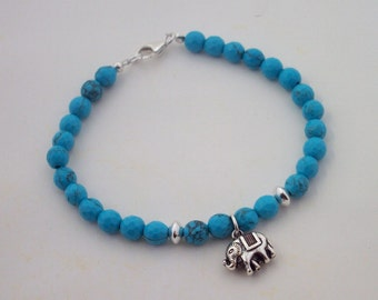Genuine Turquoise and Sterling Silver Beaded Elephant Bracelet