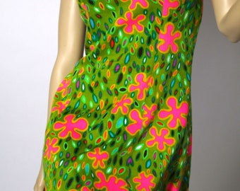 Vintage Green with Bright Pink Flowers Mini Halter 1960's Dress by Queen City Sportswear Made in California