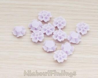 CBC138-LA // Lavender Colored Morning Glory Flower Flat Back Cabochon, 6 Pc