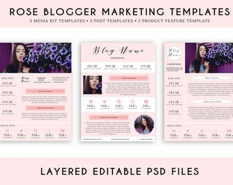 Rose Blogger Marketing Template Pack, Feminine Blogger Marketing Blog Post Templates, Social Media Post Templates