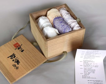 Tea Ceremony 3 Silk Scarves/Obi-age Sashes, Shibori (tie-dye), and Signed Elm Box - Vintage Japan