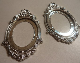 40mm x 30mm oval metalised metalized antiqued silver plated open back cameo settings 2 pc lot