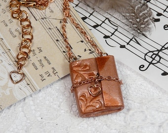 Diary journal pendant necklace