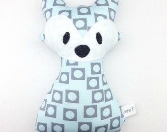Blue and Grey Fox Rattle Toy Baby Shower New Baby Handmade Gift