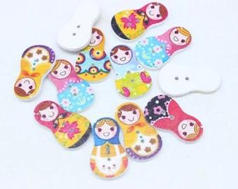 10 x Babushka Doll / Russian Doll Buttons 30mm x 17mm