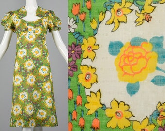 Small 1970s Floral Summer Dress Short Sleeve Cotton Dress Easter Outfit Day Wear Lightweight Spring Summer 70s Vintage