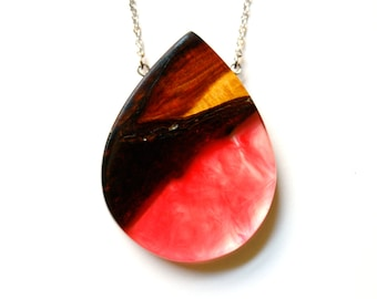 Large tear drop pendant / necklace handmade from Australian wood and two shades of pink resin