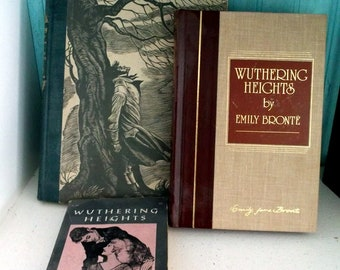 Instant book collection Set of 3 different editions of Wuthering Heights by Emily Bronte the pocket library Fritz Eichenberg