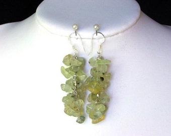 Earrings Green Garnet Chip Beads Chained Dangle 925 ESGG0317