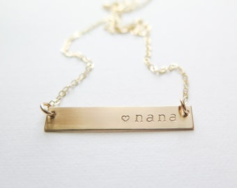 Mothers Day Nana Necklace - Gold Fill or Rose Gold Fill Bar Necklace - Hand Stamped Jewelry - Grandma or Granny - Betsy Farmer Designs
