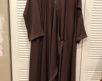 Abaya/islamic dress/hijaab/maxy style/dark brown/ size L/ 2 pc