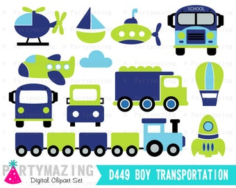 Transportation Clipart for Boys Blue and Green Digital Clip Art Graphic Set, Instant Download -D449