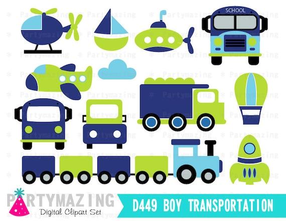 transportation clipart for boys blue and green digital clip art rh etsystudio com transportation clip art free printable transportation clipart free
