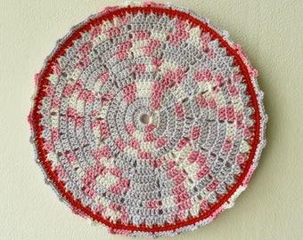 Crochet Pot Holder, Crochet Potholder, Hot Pad, Oven Mitt, Pot Stand, Coaster, Kitchen Cookware, Home Decor, Baking, Red, Cotton, Yarn, Gift
