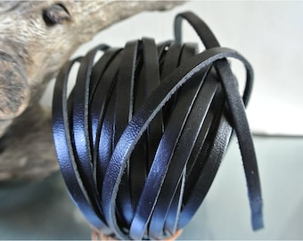 5 black flat leather cord 50 cm x 2 mm