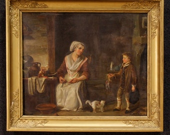 Antique French interior scene oil painting on panel from 19th century