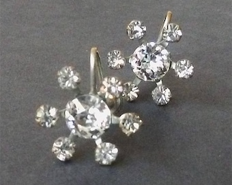 Vintage 1950's Flower Burst Rhinestone Earrings