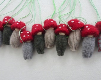 Waldorf Party Favor Pack, Toadstool peg doll necklace, Easter Egg gift, Toadstool peg doll, red, brown, green, gray, wool, wearable doll