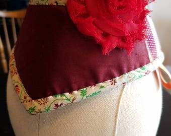 Burgundy and Vintage Silk Burlesque Hat