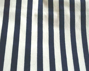 Navy Blue and White Striped Cotton Fabric 3 3/4 Yards X0802