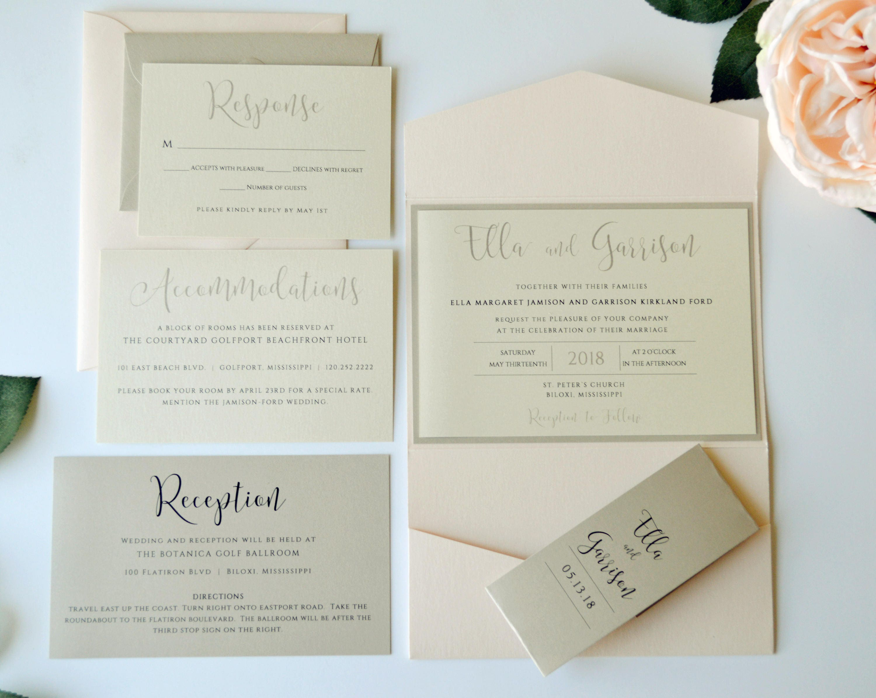 Champagne and Blush Wedding Invitation Blush Pocketfold