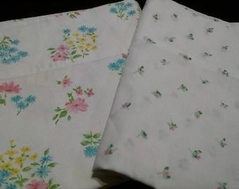 Vintage Pillowcases / Vintage Bedding / Retro Pillowcases / Mismatched  Pillowcases / Floral Pillowcases / Pink floral Pillowcases / #9