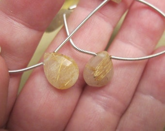 11x8mm - 13x9mm, Golden Rutilated Quartz Crystal Beads, Faceted Teardrop Beads - Available on 6 Bead Strands