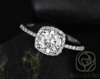 Rosados Box Barra 6mm Platinum Round F1- Moissanite and Diamonds Cushion Halo Engagement Ring
