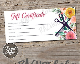 Gift certificate etsy hair salon watercolor floral printable gift certificate template spring hair stylist gift voucher yelopaper Images