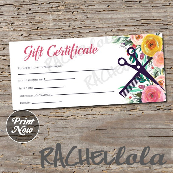 Hair Salon Watercolor Floral Printable Gift Certificate