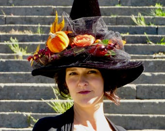 Witch Hat Elegant Black Hat Autumn Witches Hat Adult Women Halloween Costume