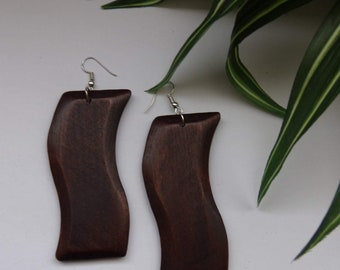 Swerve Rectangle Wood Earrings in Brown, Black & Pecan Wooden Earrings Brown Natural Stained Wood