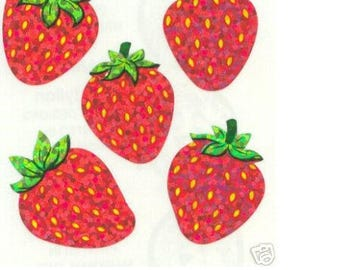 Mini STICKERS on sheet 5 * 16CM 15: strawberries pattern 20 mm