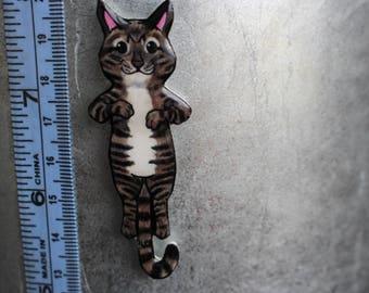 Handmade Brown Tabby  Cat Magnet for car locker and fridge Tabby cat lover gift Tabby cat memorial loss
