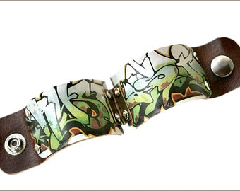 Graffiti Art, Graffiti Cuff, Mens Gift, Graffiti Jewelry, Boyfriend gift, Husband Gift, Brother gift