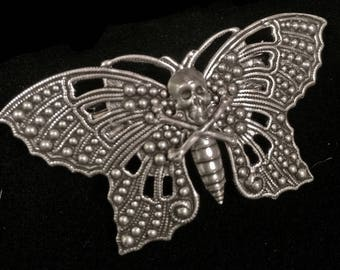 death head moth hair clip - barrette - silence of the lambs - skull - butterfly-silver plated brass