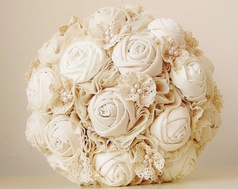 Fabric Bridal Bouquet, Cotton Flower Bouquet, Rosette,  Vintage Wedding,  Lace and Pearls - this is a 50% DEPOSIT ONLY