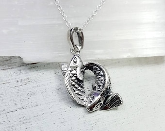 Koi Fish Necklace. Sterling Pisces necklace. Fiah necklace. Pisces Zodiac charm. Astrology necklace. Pisces jewelry. Koi Fish pendant.