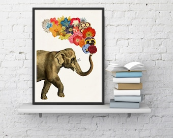 Superior Elephant With Flowers Elephant Wall Art Giclee Print Elephant Wall Decor  Elephat And Flowers Art