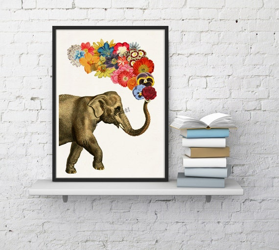 Elephant with Flowers, Wall art, Wall decor, Digital prints animal, Giclée, Elephant wall decor, Elephatn and flowers, Poster art  ANI091WA4