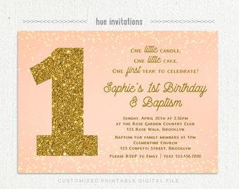 girls baptism 1st birthday invitation blush pink gold