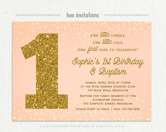 Baby girls 1st birthday baptism invitation violet purple girls baptism 1st birthday invitation peach coral gold glitter customized girls baptism first birthday filmwisefo